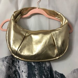 Kenneth Cole Gold Metallic Leather Shoulder Bag